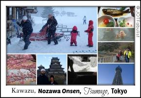 Kawazu, Nozawa Onsen, Tsumago, Tokyo postcard.